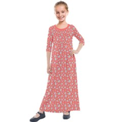 Atomic Effect In Living Coral Kids  Quarter Sleeve Maxi Dress by TimelessFashion
