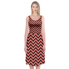 Chevron  Effect In Living Coral Midi Sleeveless Dress by TimelessFashion