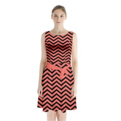 Chevron  Effect In Living Coral Sleeveless Waist Tie Chiffon Dress