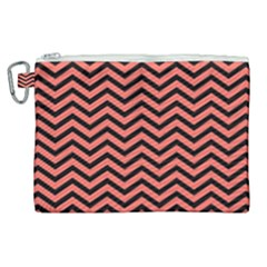 Chevron  Effect In Living Coral Canvas Cosmetic Bag (xl) by TimelessFashion