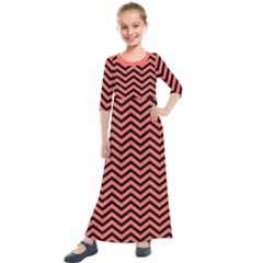 Chevron  Effect In Living Coral Kids  Quarter Sleeve Maxi Dress
