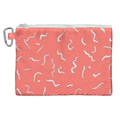 Living Coral Scribbles Canvas Cosmetic Bag (xl) by TimelessFashion
