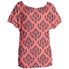 Damask Black On Living Coral Women s Oversized Tee by TimelessFashion