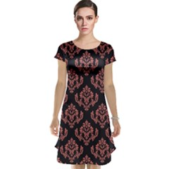 Damask Living Coral On Black Cap Sleeve Nightdress by TimelessFashion