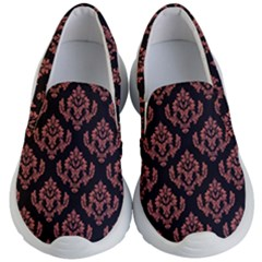 Damask Living Coral On Black Kids  Lightweight Slip Ons by TimelessFashion