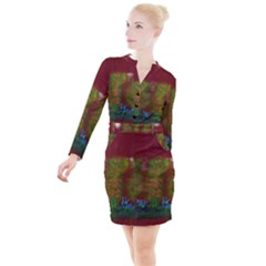 Trees Button Long Sleeve Dress