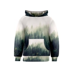 Foggy Tree Tops Kids  Pullover Hoodie by WensdaiAmbrose