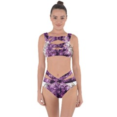 Amethyst Purple Violet Geode Slice Bandaged Up Bikini Set  by genx