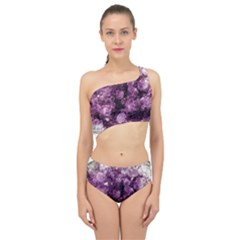 Amethyst Purple Violet Geode Slice Spliced Up Two Piece Swimsuit by genx