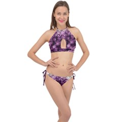 Amethyst Purple Violet Geode Slice Cross Front Halter Bikini Set by genx