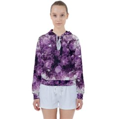 Amethyst Purple Violet Geode Slice Women s Tie Up Sweat