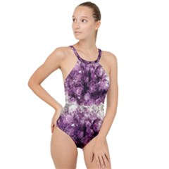 Amethyst Purple Violet Geode Slice High Neck One Piece Swimsuit by genx