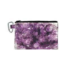 Amethyst Purple Violet Geode Slice Canvas Cosmetic Bag (small) by genx