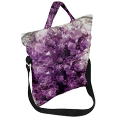 Amethyst Purple Violet Geode Slice Fold Over Handle Tote Bag by genx