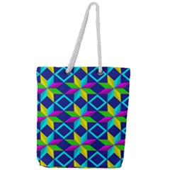 Pattern Star Abstract Background Full Print Rope Handle Tote (large)
