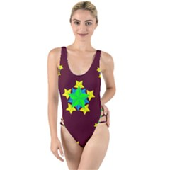 Pattern Star Vector Multi Color High Leg Strappy Swimsuit