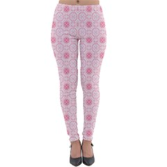 Traditional Patterns Pink Octagon Lightweight Velour Leggings by Pakrebo