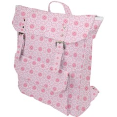 Traditional Patterns Pink Octagon Buckle Up Backpack by Pakrebo