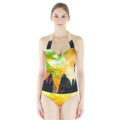 Forest Trees Nature Wood Green Halter Swimsuit