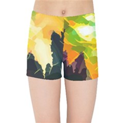 Forest Trees Nature Wood Green Kids  Sports Shorts by Pakrebo