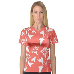 Floral In Coral  V Neck Sport Mesh Tee by TimelessFashion