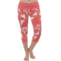 Floral In Coral  Capri Yoga Leggings by TimelessFashion