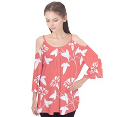 Floral In Coral  Flutter Tees by TimelessFashion