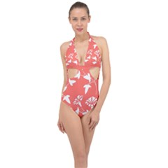 Floral In Coral  Halter Front Plunge Swimsuit