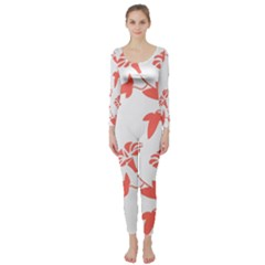 Floral In Coral  Long Sleeve Catsuit by TimelessFashion