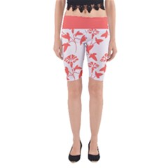Floral In Coral  Yoga Cropped Leggings by TimelessFashion