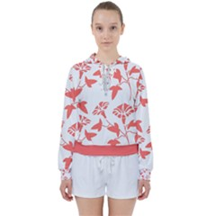 Floral In Coral  Women s Tie Up Sweat
