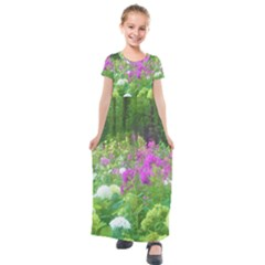 Annabella Hydrangeas And Purple Garden Landscape Kids  Short Sleeve Maxi Dress by myrubiogarden