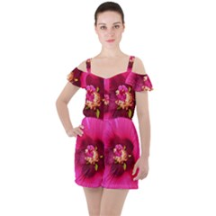 Deep Pink And Crimson Hibiscus Flower Macro Ruffle Cut Out Chiffon Playsuit