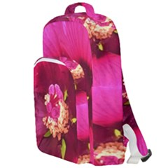 Deep Pink And Crimson Hibiscus Flower Macro Double Compartment Backpack