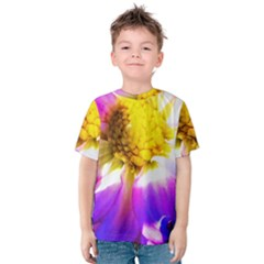 Purple, Pink And White Dahlia With A Bright Yellow Center Kids  Cotton Tee