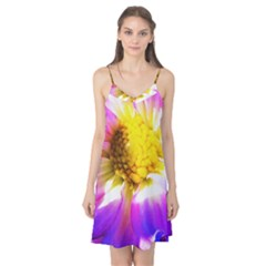 Purple, Pink And White Dahlia With A Bright Yellow Center Camis Nightgown by myrubiogarden