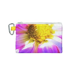 Purple, Pink And White Dahlia With A Bright Yellow Center Canvas Cosmetic Bag (small)