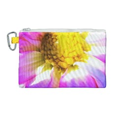 Purple, Pink And White Dahlia With A Bright Yellow Center Canvas Cosmetic Bag (large)