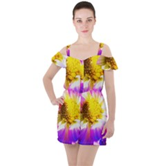 Purple, Pink And White Dahlia With A Bright Yellow Center Ruffle Cut Out Chiffon Playsuit