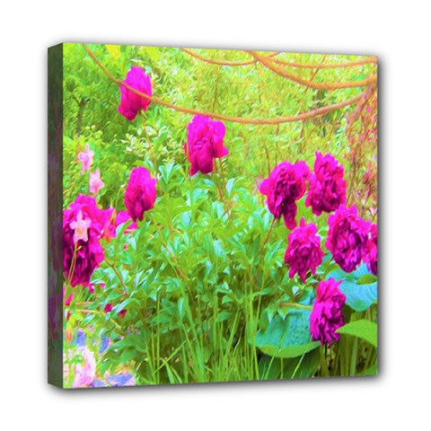 Impressionistic Purple Peonies With Green Hostas Mini Canvas 8  X 8  (stretched)