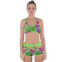 Impressionistic Purple Peonies With Green Hostas Racerback Boyleg Bikini Set
