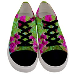 Impressionistic Purple Peonies With Green Hostas Men s Low Top Canvas Sneakers