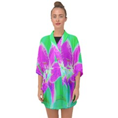 Hot Pink Stargazer Lily On Turquoise Blue And Green Half Sleeve Chiffon Kimono by myrubiogarden