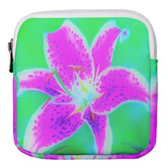Hot Pink Stargazer Lily On Turquoise Blue And Green Mini Square Pouch by myrubiogarden