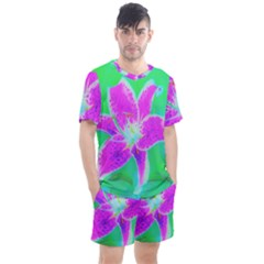 Hot Pink Stargazer Lily On Turquoise Blue And Green Men s Mesh Tee And Shorts Set by myrubiogarden