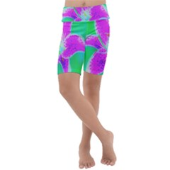 Hot Pink Stargazer Lily On Turquoise Blue And Green Kids  Lightweight Velour Cropped Yoga Leggings