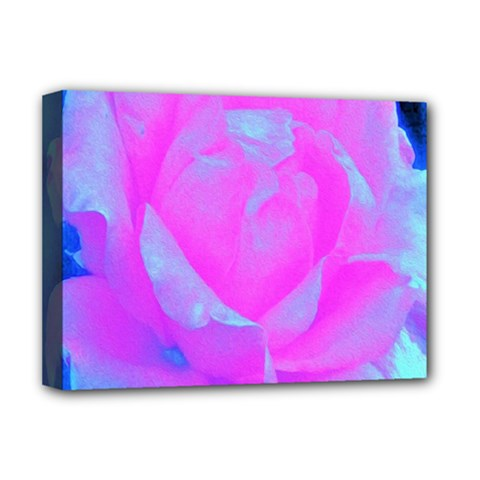Beautiful Pastel Pink Rose With Blue Background Deluxe Canvas 16  X 12  (stretched)