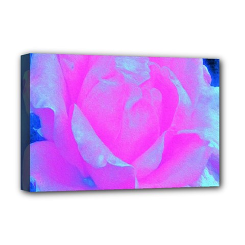 Beautiful Pastel Pink Rose With Blue Background Deluxe Canvas 18  X 12  (stretched)