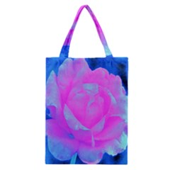 Beautiful Pastel Pink Rose With Blue Background Classic Tote Bag