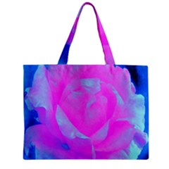 Beautiful Pastel Pink Rose With Blue Background Zipper Mini Tote Bag